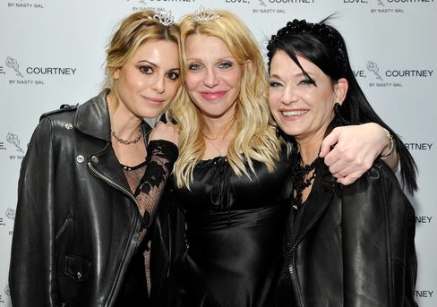 """Sophia Amoruso, Courtney Love, and Sheree Waterson attend the launch party forNasty Gal's """"Love, Courtney"""" collection on Jan. 13 in Los Angeles."""