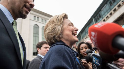 Democratic presidential candidate Hillary Clinton campaigns outside of Yankee Stadium on April 7, 2016, in the Bronx borough of New York City.