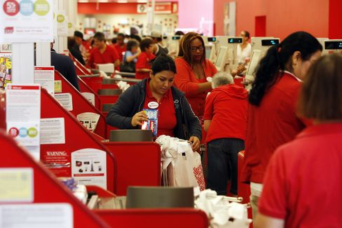 Customers Pay for Goods at a Target Corp. Store