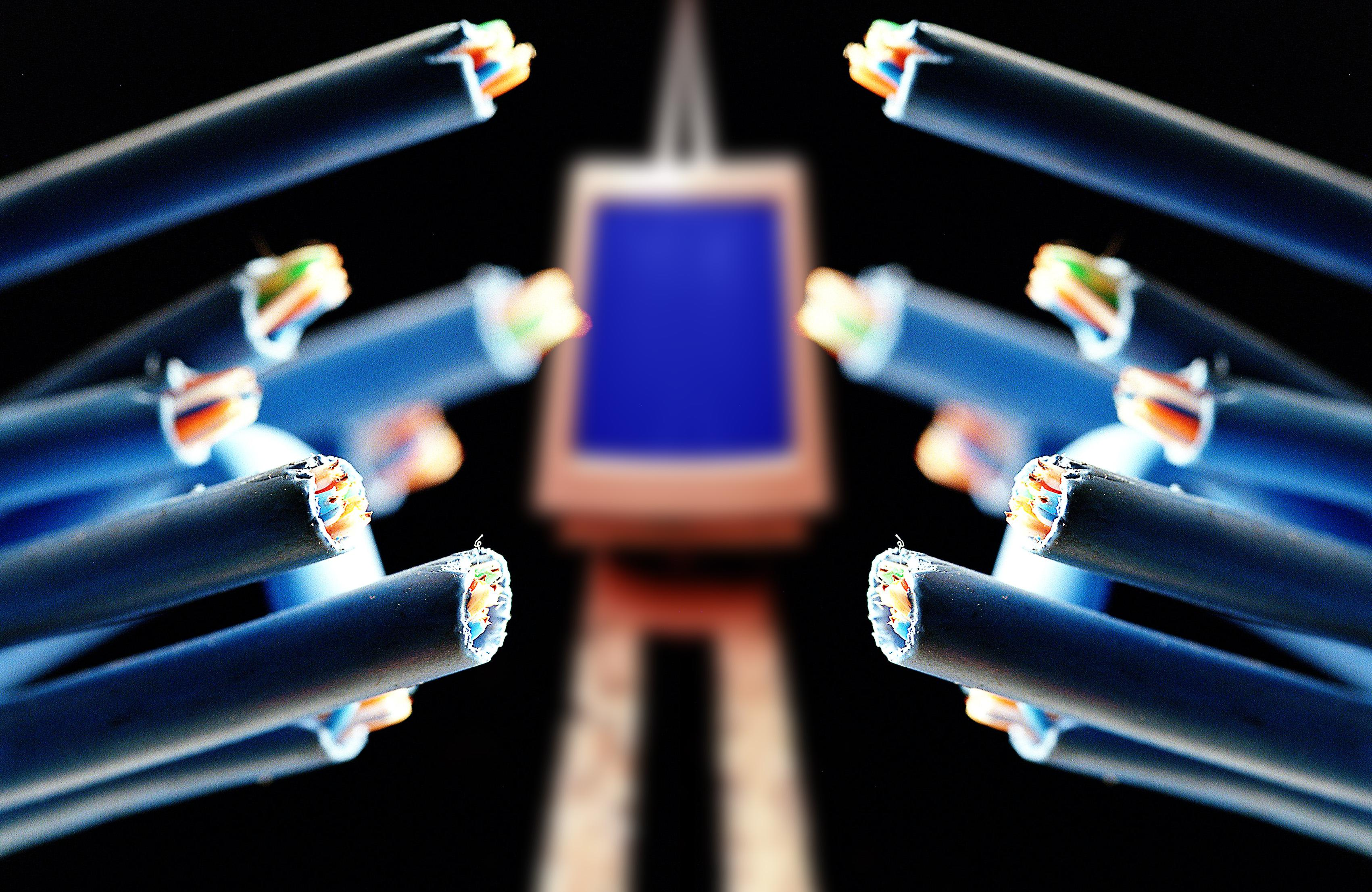 Broadband cables, 14 November 2004. AFR Photo-illustration by LOUIE DOUVIS