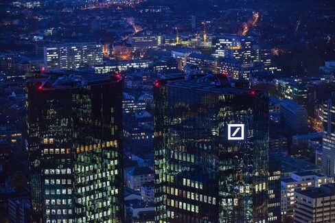 The Deutsche Bank Headquarters, right, Stand in Frankfurt