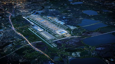 Heathrow's proposed third runway, left, sits at London Heathrow Airport in this photo illustration. Source: Heathrow Airport via Bloomberg