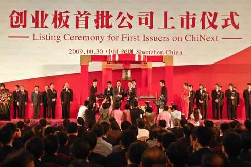 Delegates of the first batch of 28 selected firms for China's ChiNext pose for photos on Oct. 30, 2009.