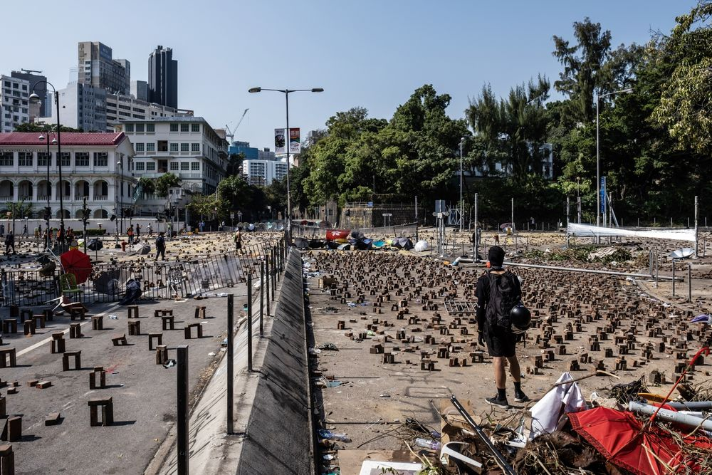 Demonstrators occupy a road during a protest outside the Hong Kong Polytechnic University on Nov. 15, 2019.