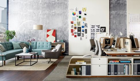 An office outfitted with the modern collection.