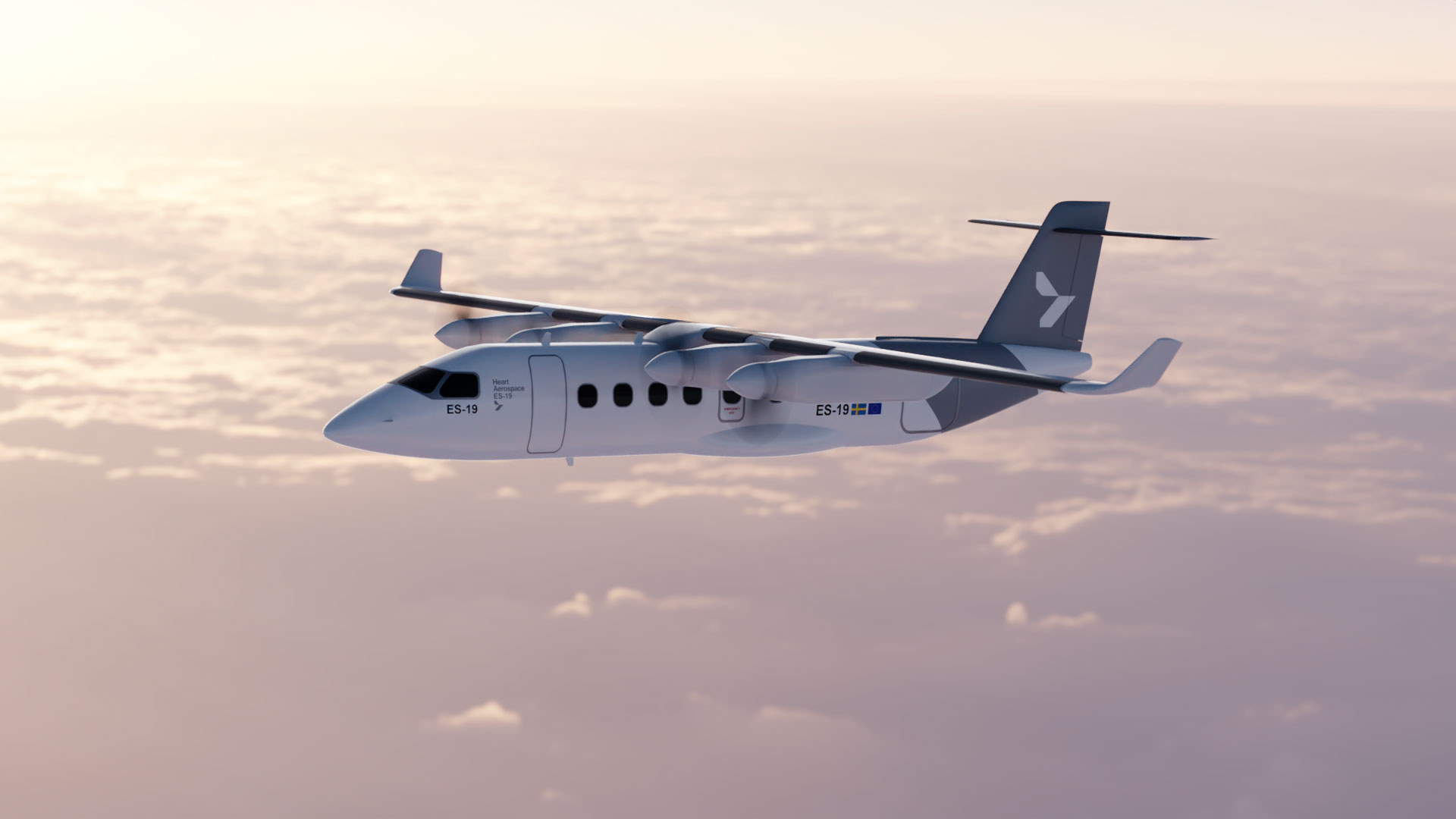A rendering of the ES-19, an electric airliner with an operating range of 400 km.