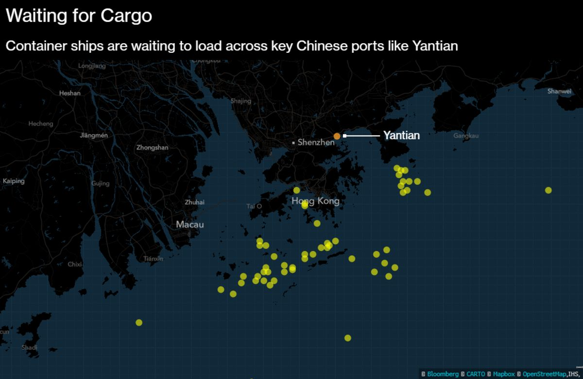 Worse-Than-Suez Shipping Snarls in China to Widen Trade Chaos