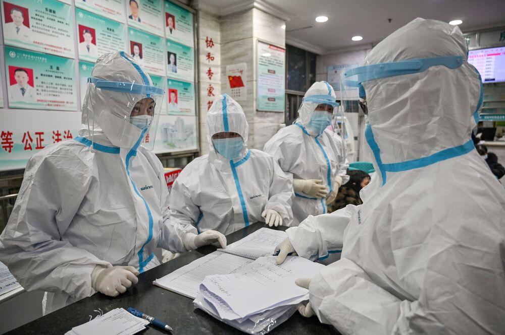Medical staffat the Wuhan Red Cross Hospital in Wuhan on Jan. 25.