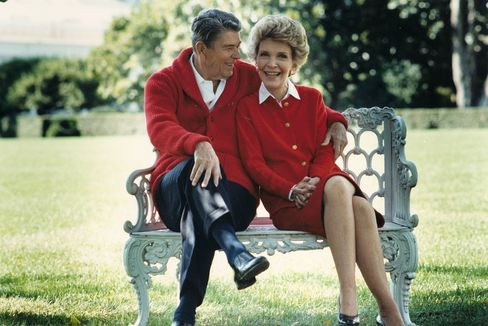 Former U.S. President Ronald Reagan and First Lady Nancy Reagan.