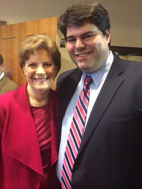 Senator Jeanne Shaheen poses with campaign manager Mike Vlacich on Election Day.