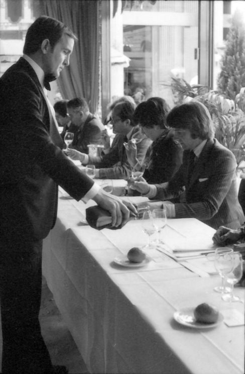 The judges at the original Paris tasting are shown on May 24, 1976, at the Hotel Intercontinental in Paris. In the center is Steven Spurrier, the tasting's organizer.