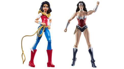 A newly designed girl-friendly Wonder Woman, left, next to the current action figure.