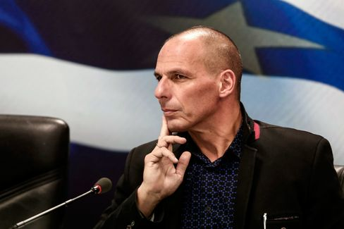 Yanis Varoufakis, Greece's finance minister, attends the handover ceremony in Athens, on Jan. 28, 2015.