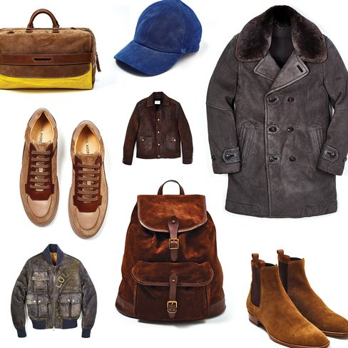 Travel bag, Etro, $2,895, etro.com; azure baseball cap, Vianel, $320, vianelnewyork.com; charcoal shearling car coat, Dunhill, $3,690, dunhill.com; Abel shoes, Paul Andrew, $675, paulandrew.com; Dunnavent leather jacket, Billy Reid, $1,295, billyreid.com; vintage shearling jacket, Louis Vuitton, $7,900, louisvuitton.com; Snuff backpack, Polo Ralph Lauren, $598, ralphlauren.com; Wyatt 40, Saint Laurent, $895, ysl.com