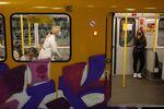 Passengers wear protective face masks on an underground U-Bahn train at Alexanderplatz station in Berlin, Germany.