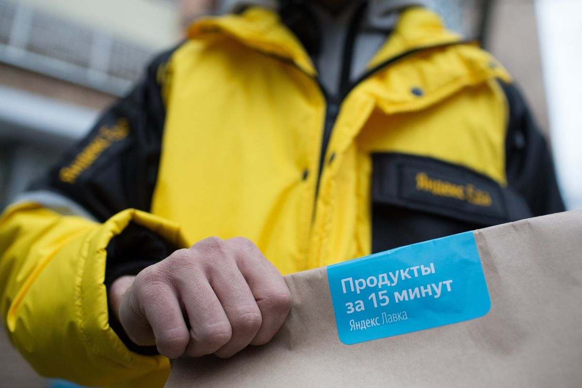 Yandex launches a new online service in Moscow called Lavka, which delivers orders in 15 minutes using bike couriers and small warehouses spread across the city (Ilya Khrennikov/Bloomberg)