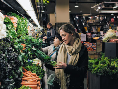 Back at Whole Foods, Truesdell admires her loot