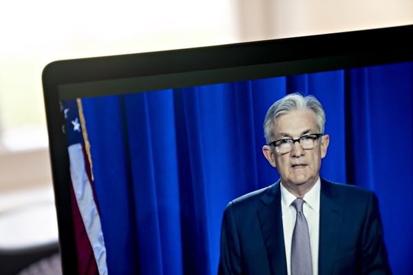 Fed Chairman Jerome Powell Holds Video News Conference Following FOMC Rate Decision