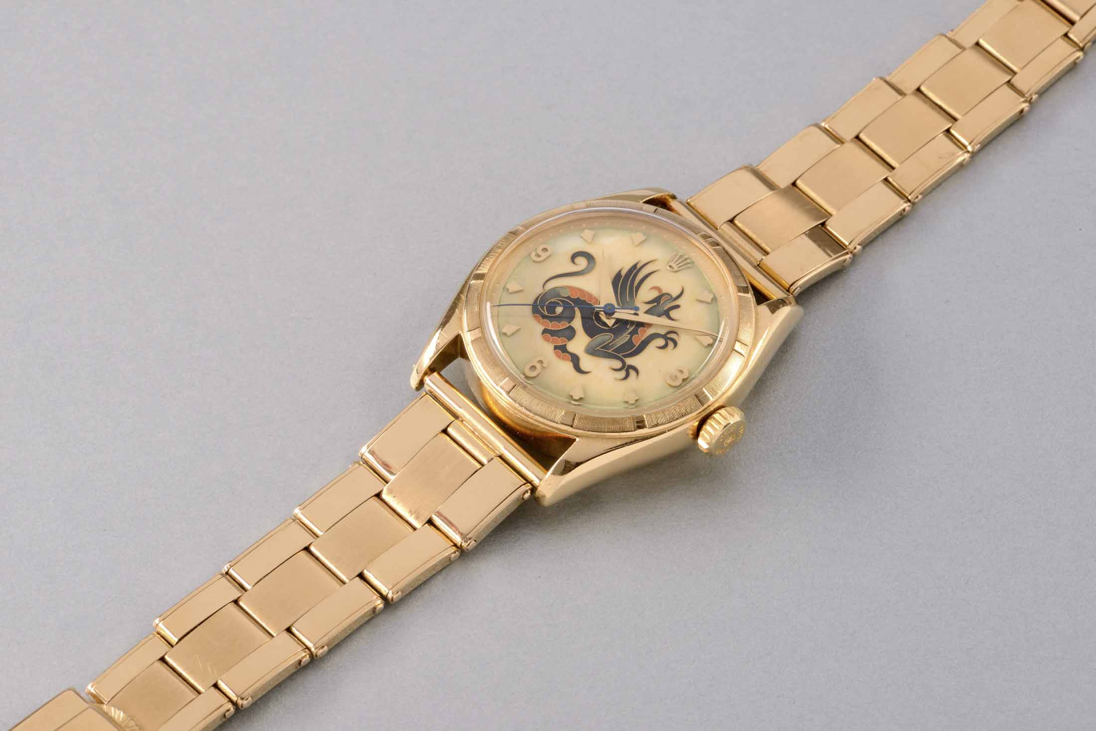 Rolex Yellow Gold Wristwatch With Dragon Cloisonné EnamelDial