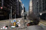 Debris burn in the Sai Wan Ho district of Hong Kong on Nov. 11.