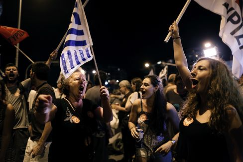 'No' supporters flooded Syntagma Square in Athens as the result became clear on Sunday night
