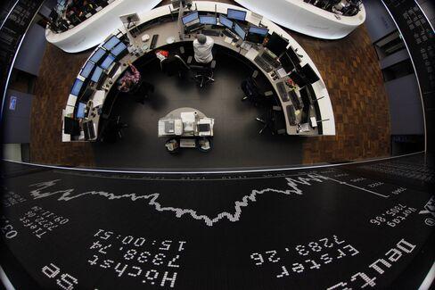 Europe Stocks Gain on Earnings as U.S. Futures Drop Amid Storm