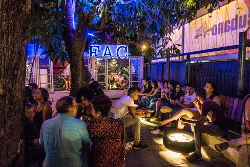 The bar at Fabrica de Arte Cubano, a gallery/nightclub that has private investment.