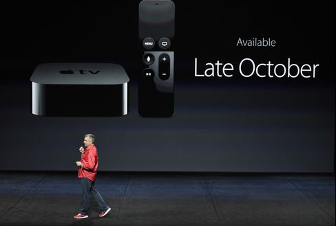 Eddy Cue, senior vice president of Internet software and services at Apple, speaks during a product announcement.