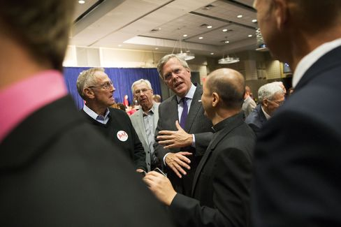 Jeb Bush greets attendees during the Scott County Republican Party Ronald Reagan Dinner in Davenport, Iowa, on Oct. 6, 2015.