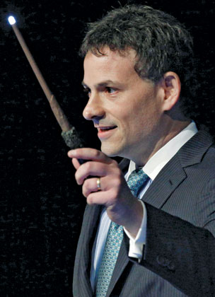­Einhorn, at the 2012 Ira Sohn investing conference, deploys ­hundred-slide PowerPoint presentations and geeky humor
