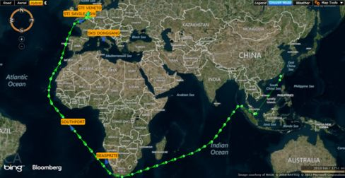 Plunging oil opens up new trades as product tankers take the long route to Europe