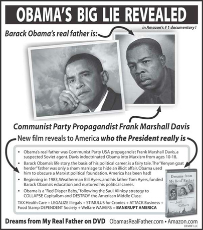 The ???Dreams from My Real Father??? ad in the ???New York Post???