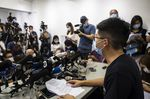 Pro-democracy activist and disqualified candidate Joshua Wong speaks during a news conference in Hong Kong, on July 31.