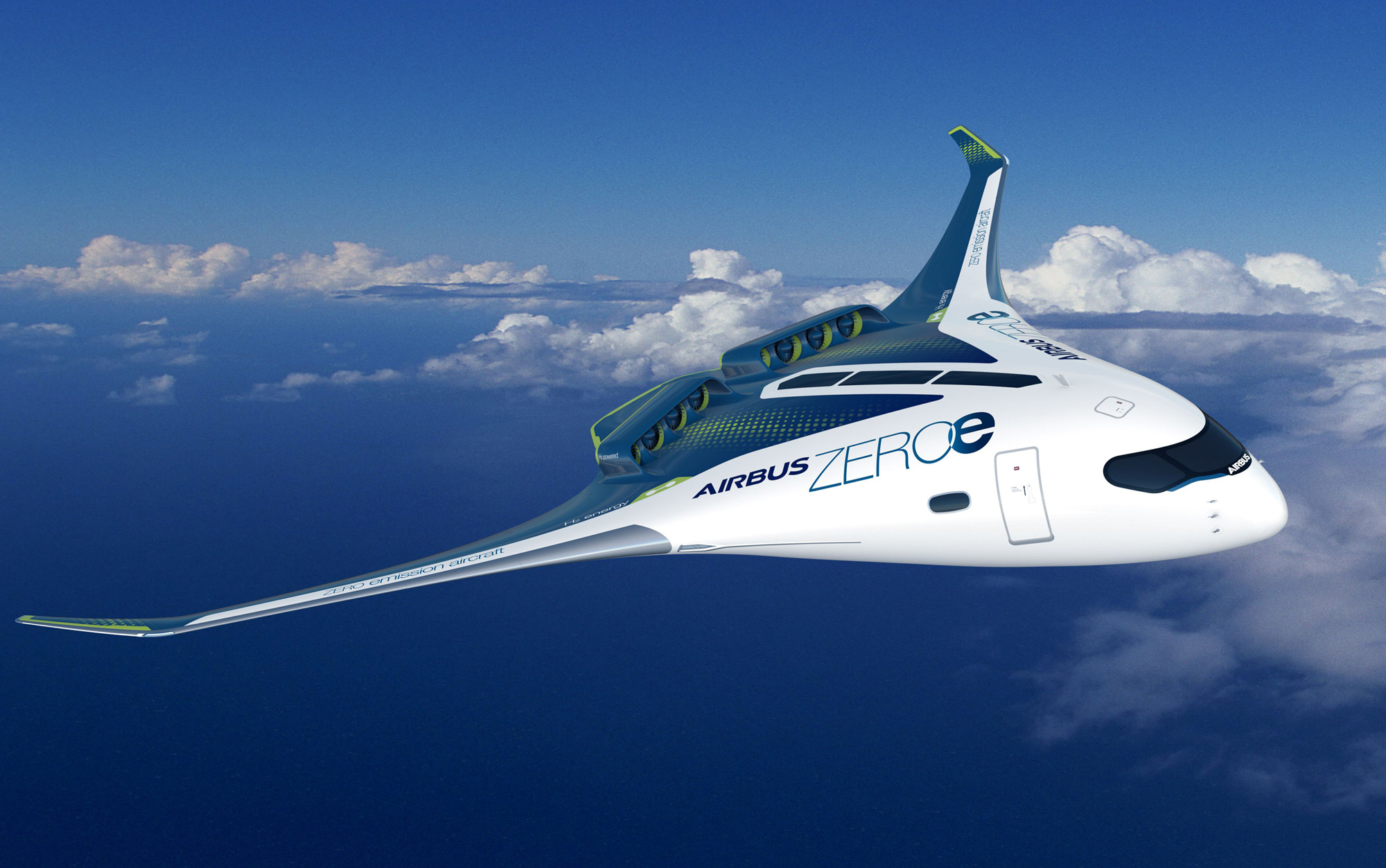 This image shows concept art for a new hydrogen-powered passenger plane being designed by Airbus SE. The plan is a sort of