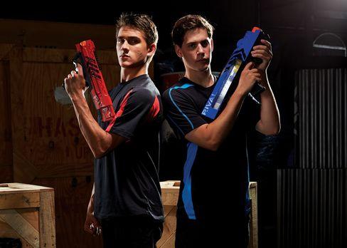 Hasbro Inc. is unveiling the line, called Nerf Rival, this week in New York, just ahead of the North American International Toy Fair. Blasters will run about $50, and the $15 face masks will come in blue nad red to make creating teams easier. Source: Hasbro Inc. via Bloomberg