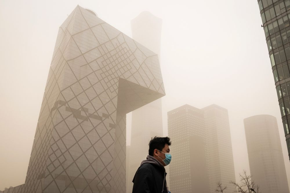 The China Central Television (CCTV) Tower during a sandstorm in Beijing on March 15.
