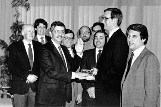 "Stern gets ""sworn in"" as NBA commissioner on Feb. 1, 1984"