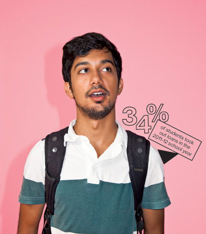 "Zain Alam, 21: A senior at Wesleyan University, Alam works 10 to 25 hours a week to limit his loans, which he still expects could reach $23,000 by the time he graduates. ""It becomes really apparent how absurd the price tag is when you go abroad and everyone's jaw drops,"" he says. ""Of course, most of them say they'd do absolutely anything to get an education in America—but at what price?"""