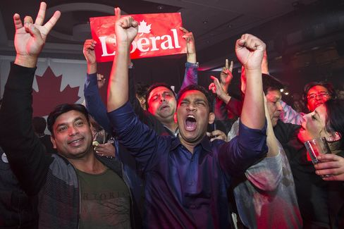 Supporters of the Liberal Party of Canada celebrate as results come in on election night.