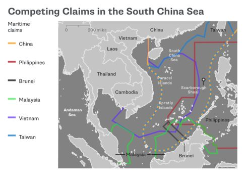 QuickTake map shows overlapping territorial claims of Brunei, China, Malaysia, Taiwan, the Philippines and Vietnam. {NSN O2OSHZ1ANZG8}