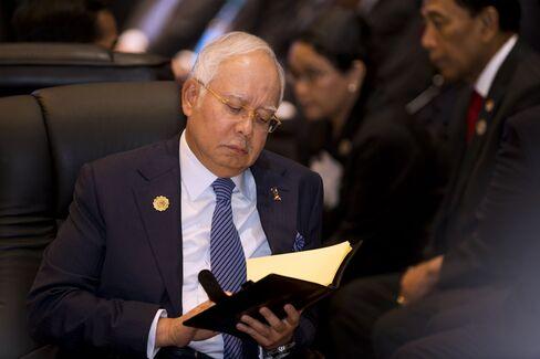 Najib Razak at the ASEAN Summit in Vientiane on Sept. 8.
