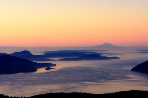 The view from the top of Mt. Constitution on Orcas Island.