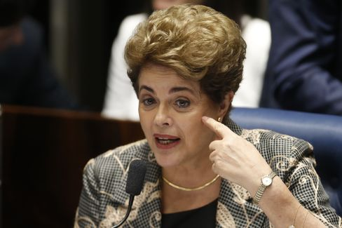 Rousseff testifies during her impeachment trial on Aug. 29.