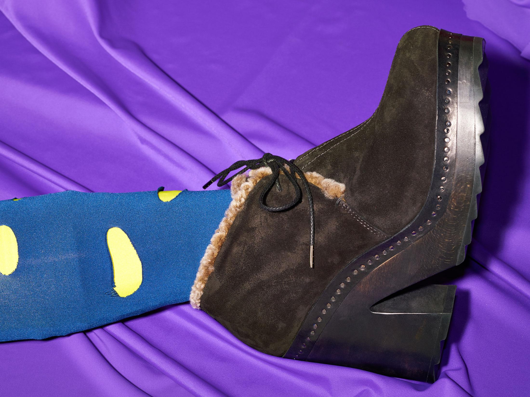 Rag & Bone Inez suede shearling desert clogs