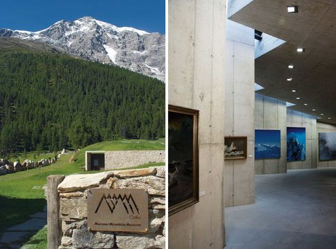 Messner's Ortles museum, designed to look like a glacier crevasse