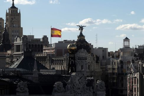 A Spanish Flag Flies Above the Bank of Spain in Madrid