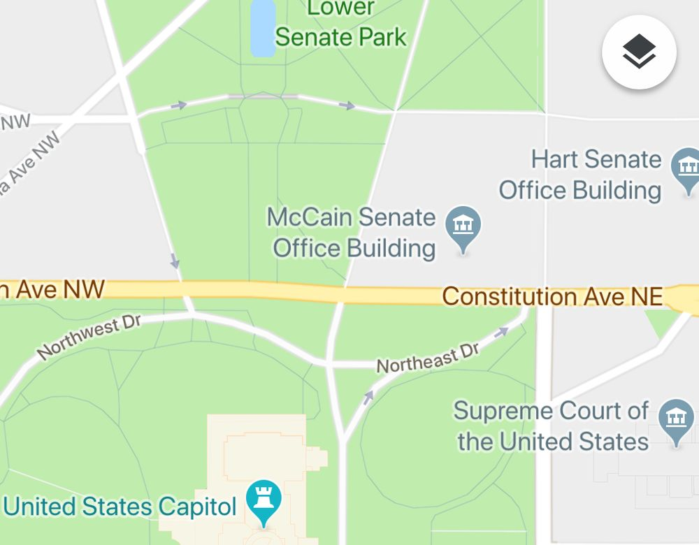 Google Maps Briefly Renames Senate Office Building After Mccain - Map-of-the-us-capitol-building
