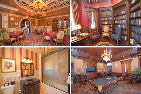 The castle includes a library, a billiards room, and a banquet room modeled after Versailles.