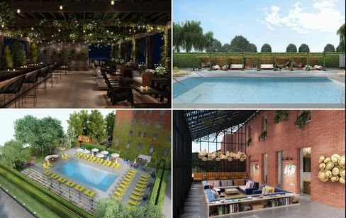 Amenities at the hotel include a skybar (top left), pool (top right and bottom left), and reading/lounge area.