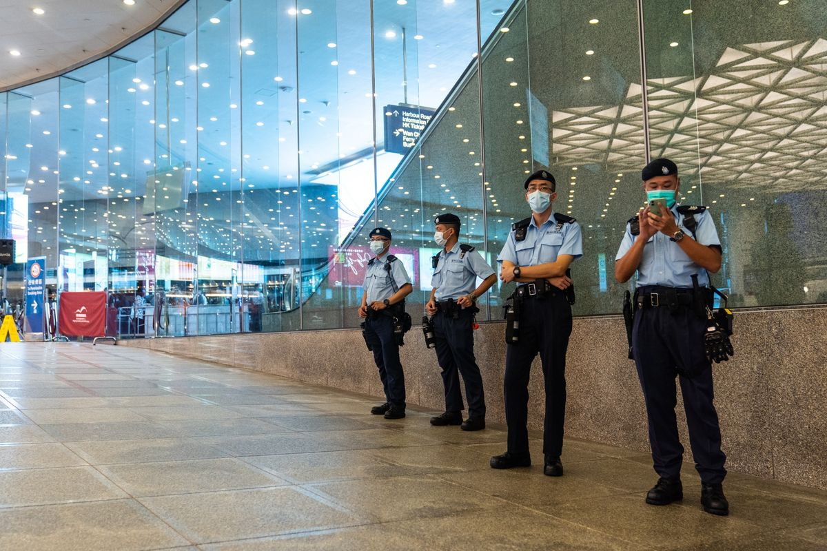 Hong Kong Police Out in Force as Elite Group Set to Cast Ballots